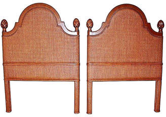 One Kings Lane Vintage Tommy Bahama Twin/King Headboards - Set of 2 - House of Charm Antiques