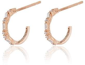 Suzanne Kalan 18K rose gold and diamond small hoop earrings