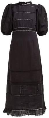 Sea Poppy Pintucked Linen Blend Midi Dress - Womens - Black