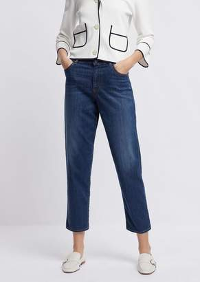0cbe4defecf Emporio Armani Mom-Fit J90 Jeans In A Blend Of Denim And Lyocell With  Vintage