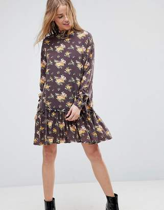 Asos Washed Mini Dress with Ruffle Hem in Floral Print