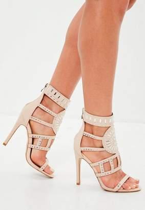 Missguided Nude Embellished Gladiator Heeled Sandals