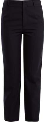 Vetements Logo-embroidered straight-leg wool trousers