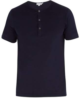 Sunspel Henley Short Sleeved Cotton T Shirt - Mens - Navy