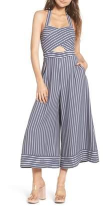 Leith Stripe Convertible Halter Jumpsuit