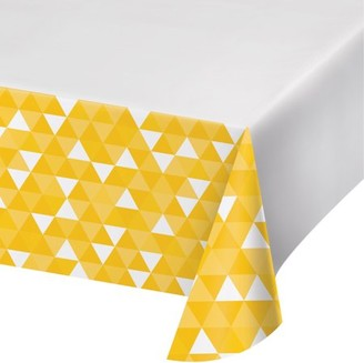 Celebrations School Bus Yellow Fractal Plastic Tablecloth, each