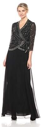 J Kara Women's Long 3/4 Sleeve V-Neck Beaded Faux Wrap Dress
