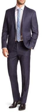 Saks Fifth Avenue 611 New York Sharkskin Wool Suit