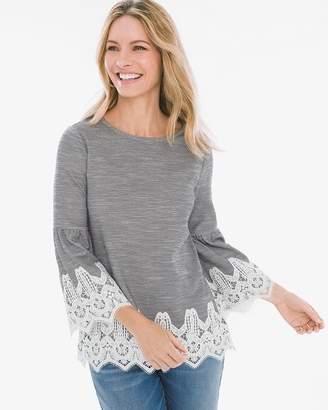 Striped Lace-Detail Shirt