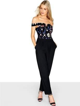 Girls On Film Floral Sweetheart Neckline Embroidered Bardot Jumpsuit - Black