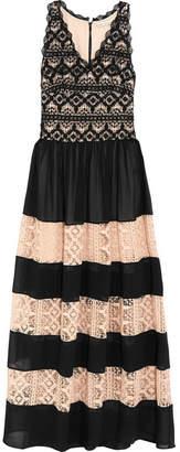 Tilly Paneled Chiffon And Cotton-lace Maxi Dress - Black Alice & Olivia SJFAvhdI