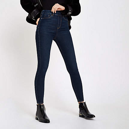 Womens Dark Blue Cici pull on jeggings