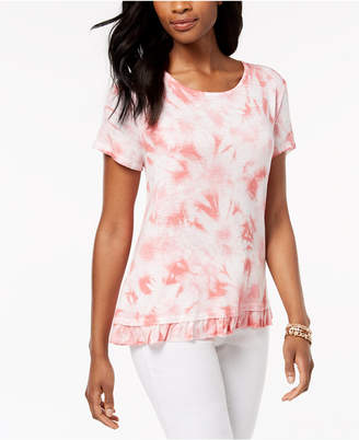 Style&Co. Style & Co Tie-Dyed Ruffle T-Shirt, Created for Macy's