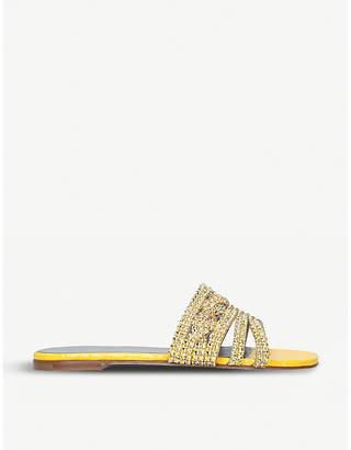 Gina Loren crystal-embellished leather sandals