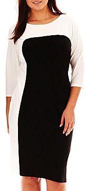 MSK Long-Sleeve Colorblock Dress - Plus