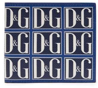 Dolce & Gabbana Logo Print Leather Bi Fold Wallet - Mens - Navy