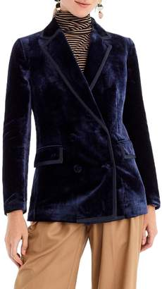 J.Crew Double Breasted Drapey Velvet Blazer