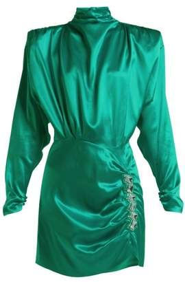 Alessandra Rich - Crystal Embellished Silk Satin Mini Dress - Womens - Green