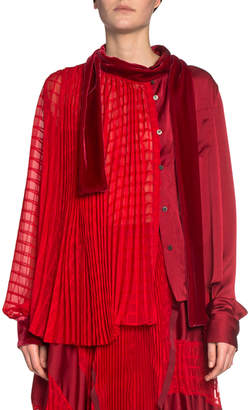 Sacai Monochromatic Pleated-Side Tie Neck Blouse