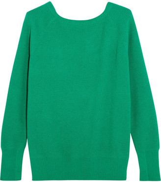 Maje - Cutout Ribbed-knit Sweater - Forest green $295 thestylecure.com