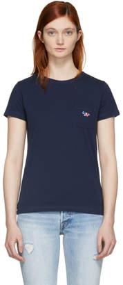 MAISON KITSUNÉ Navy Tricolor Fox Patch T-Shirt
