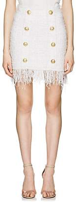 Balmain Women's Fringed Tweed Miniskirt - White