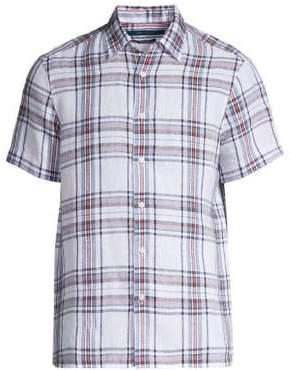 Perry Ellis Linen Plaid Untucked Button Down Shirt