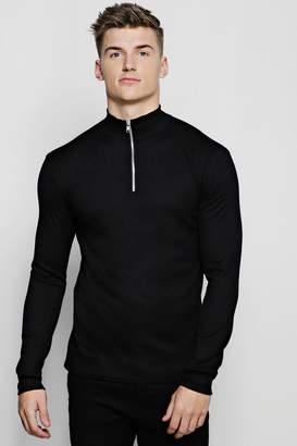 boohoo Half Zip Funnel Neck Ribbed Sweater