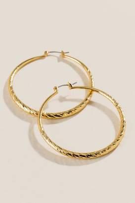 francesca's Kaitlynn Diamond Cut Hoop Earrings - Gold