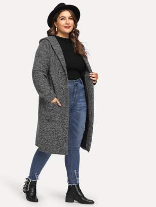 Shein Plus Dual Pocket Hooded Sweater Coat