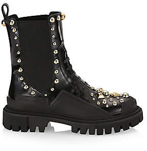 Dolce & Gabbana Women's Studded Leather Combat Boots