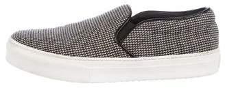 Celine Tweed Round-Toe Slip-On Sneakers