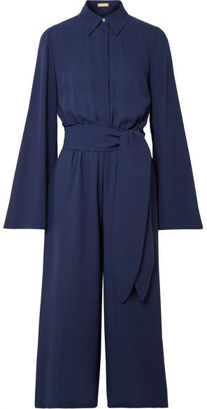 Michael Kors Collection - Cropped Silk-georgette Jumpsuit - Storm blue