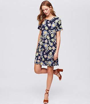 LOFT Floral Paisley Short Sleeve Swing Dress