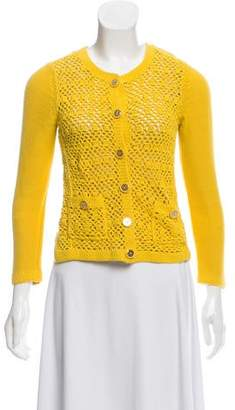 Tory Burch Crochet-Accented Knit Cardigan