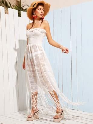 Shein Fringe Detail Shirred Tube Dress