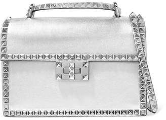 Valentino Garavani The Rockstud No Limit Metallic Textured-leather Shoulder Bag - Silver