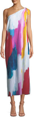Mara Hoffman Clara One-Shoulder Watercolor-Print Coverup Maxi Dress