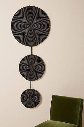 Anthropologie Dropped Pendant Raffia Wall Hanging