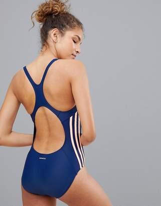 adidas Three Stripe Swimsuit In Blue