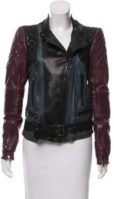 Diesel Black Gold Colorblock Leather Jacket