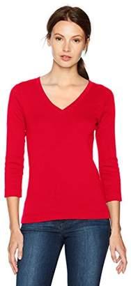 Three Dots Women's Heritage Knit V-Neck Tight Mid Shirt