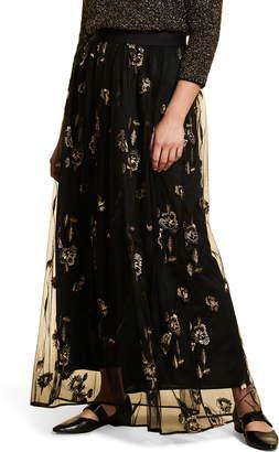 Marina Rinaldi Cipria Floral Embroidery Tulle Maxi Skirt
