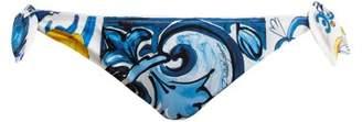 Dolce & Gabbana Majolica Print Bandeau Bikini Set - Womens - Blue Multi