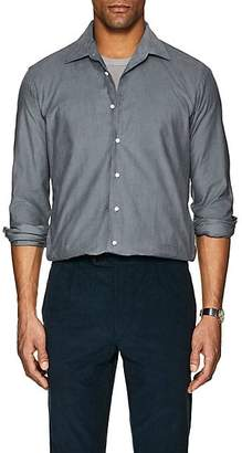 P. Johnson P. JOHNSON MEN'S COTTON MICRO-CORDUROY DRESS SHIRT - GRAY SIZE M