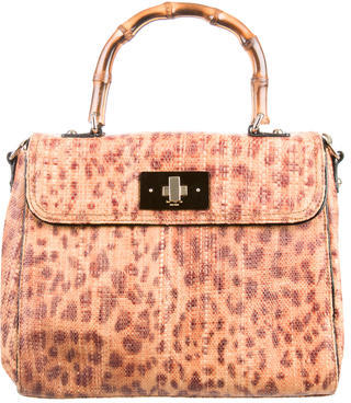 Kate Spade New York Leopard Print Straw Woven Satchel $175 thestylecure.com