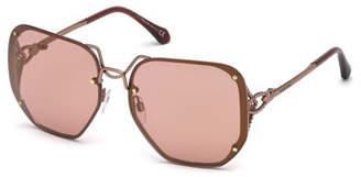 Roberto Cavalli Square Rimless Gradient Sunglasses, Rose Gold