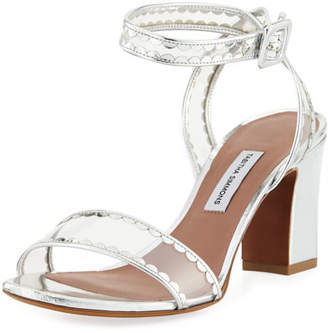 Tabitha Simmons Leticia Frill Scallop PVC Block-Heel Sandal
