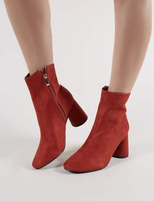 84b0bfc9dbc Public Desire Bronte Round Heeled Ankle Boots in Rust Faux Suede