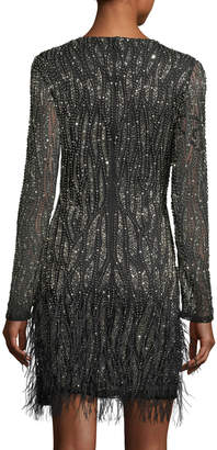 Neiman Marcus Parker Black Gia Long-Sleeve Beaded Cocktail Dress w/ Feather Trim